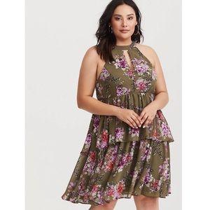Torrid Tiered Dress Olive Floral Chiffon Mini NWT